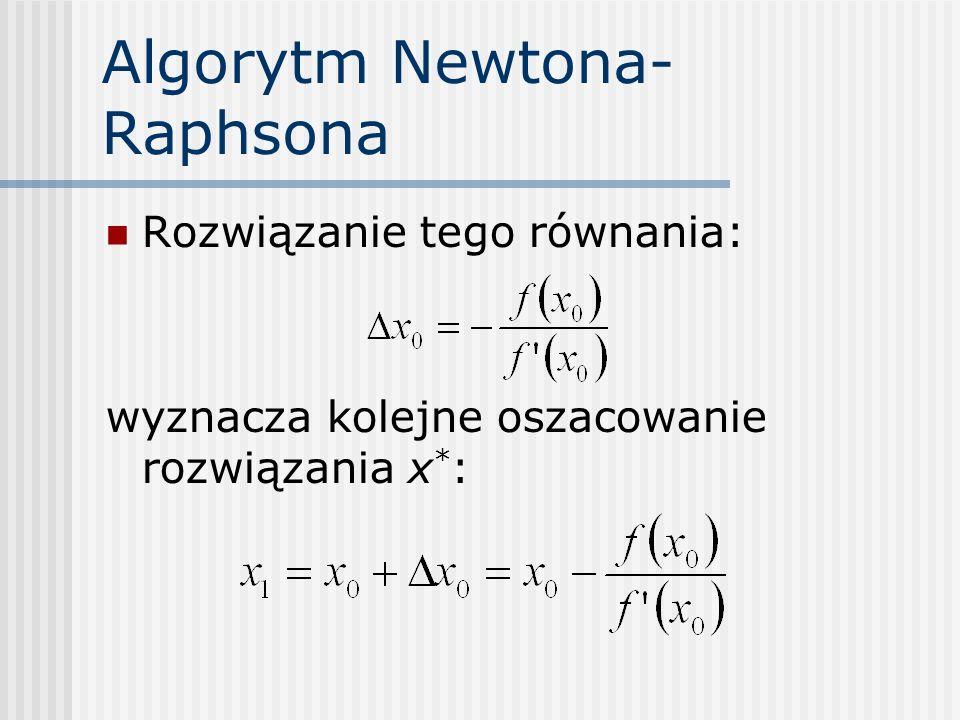 Algorytm Newtona- Raphsona Rozwiązanie tego równania: wyznacza kolejne oszacowanie rozwiązania x * :