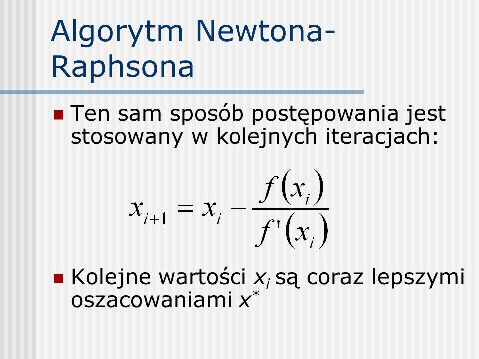 Algorytm Newtona- Raphsona Ten sam sposób postępowania jest stosowany w kolejnych iteracjach: Kolejne wartości x i są coraz lepszymi oszacowaniami x *