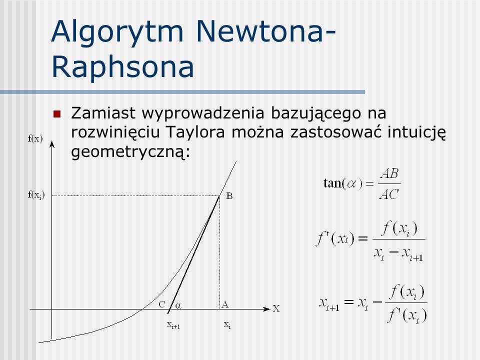 Algorytm Newtona- Raphsona Zamiast wyprowadzenia bazującego na rozwinięciu Taylora można zastosować intuicję geometryczną: