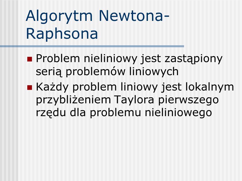 Algorytm Newtona- Raphsona Problem nieliniowy jest zastąpiony serią problemów liniowych Każdy problem liniowy jest lokalnym przybliżeniem Taylora pier