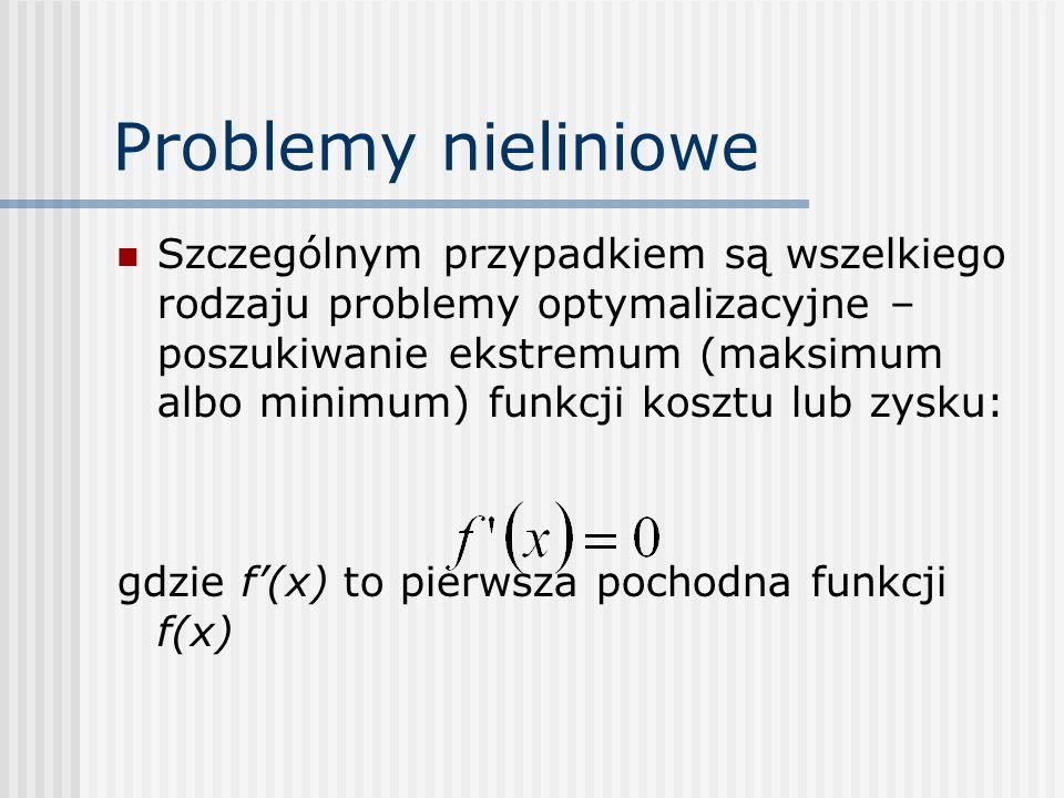 Problemy nieliniowe Szczególnym przypadkiem są wszelkiego rodzaju problemy optymalizacyjne – poszukiwanie ekstremum (maksimum albo minimum) funkcji ko