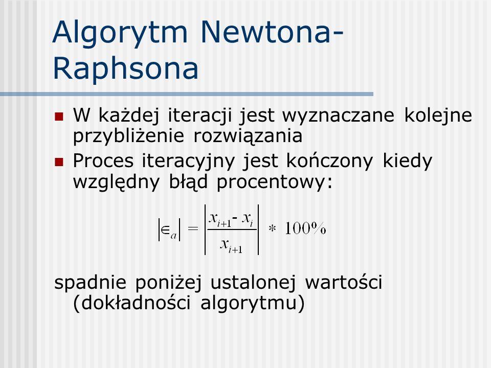 Algorytm Newtona- Raphsona W każdej iteracji jest wyznaczane kolejne przybliżenie rozwiązania Proces iteracyjny jest kończony kiedy względny błąd proc