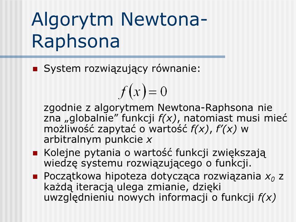 Algorytm Newtona- Raphsona System rozwiązujący równanie: zgodnie z algorytmem Newtona-Raphsona nie zna globalnie funkcji f(x), natomiast musi mieć moż