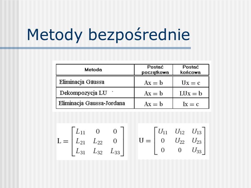 Dekompozycja LU Potrzeba: układy równań rozwiązywane wielokrotnie, dla różnych wektorów danych b i (RHS – prawe strony równań) Uzupełnienie macierzy A o wszystkie wektory b i :