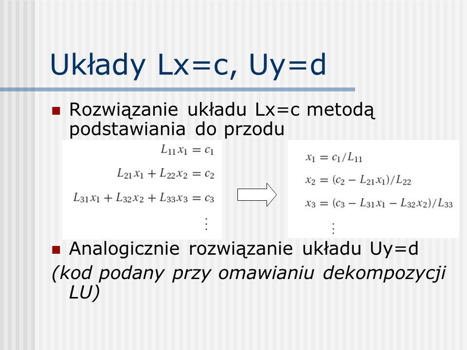 Dekompozycja LU W fazie eliminacji Gaussa-Jordana przekształceniom podlegają wszystkie wektory b i, Faza wstecznego podstawiania jest realizowana dla każdego b i osobno Dekompozycja LU oferuje bardziej ekonomiczny i elastyczny schemat (nie trzeba znać z góry b i )
