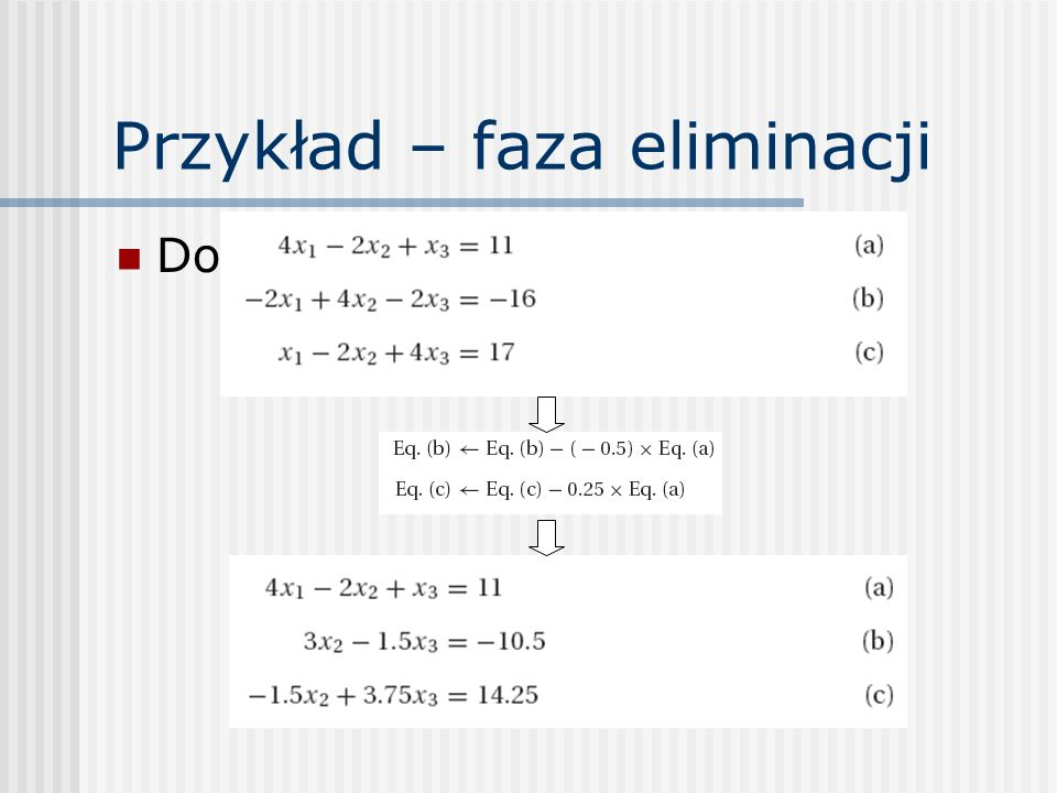 Skalowany piwot Wybierany jest wiersz p, w którym A pk ma największą względną wielkość: Po znalezieniu takiego wiersza, zamienia się go miejscami z wierszem k (stosowna zamiana musi też być dokonana w wektorze współczynników skalujących s)