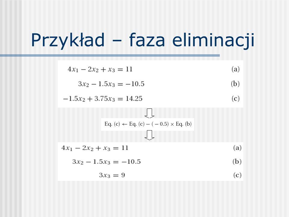 Dekompozycja LU Idea zastosowania: Najpierw rozwiązanie Ly=b (podstawianie wprzód) Następnie rozwiązanie Ux=y (podstawianie wstecz) Gdy już są znane L, U, to dla każdego wektora b i potrzebne są dwa tanie procesy podstawiania