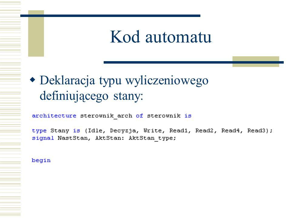 Kod automatu Deklaracja typu wyliczeniowego definiującego stany: