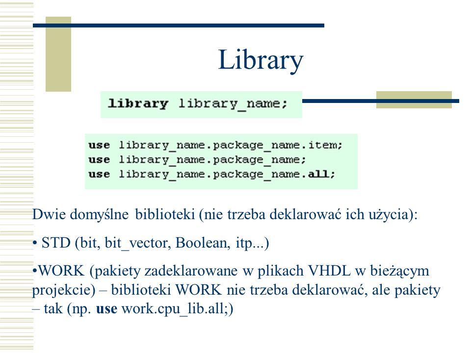 Library Dwie domyślne biblioteki (nie trzeba deklarować ich użycia): STD (bit, bit_vector, Boolean, itp...) WORK (pakiety zadeklarowane w plikach VHDL