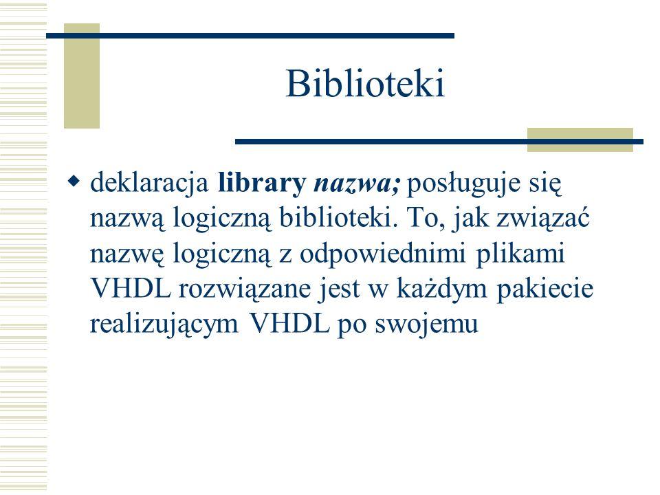Biblioteki deklaracja library nazwa; posługuje się nazwą logiczną biblioteki. To, jak związać nazwę logiczną z odpowiednimi plikami VHDL rozwiązane je