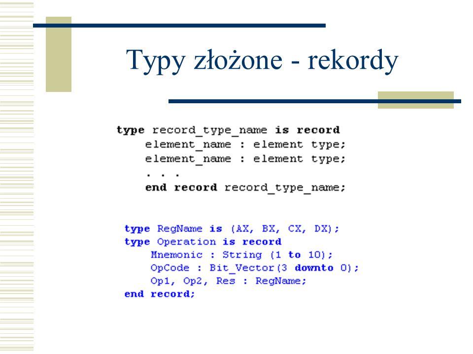 Library Dwie domyślne biblioteki (nie trzeba deklarować ich użycia): STD (bit, bit_vector, Boolean, itp...) WORK (pakiety zadeklarowane w plikach VHDL w bieżącym projekcie) – biblioteki WORK nie trzeba deklarować, ale pakiety – tak (np.