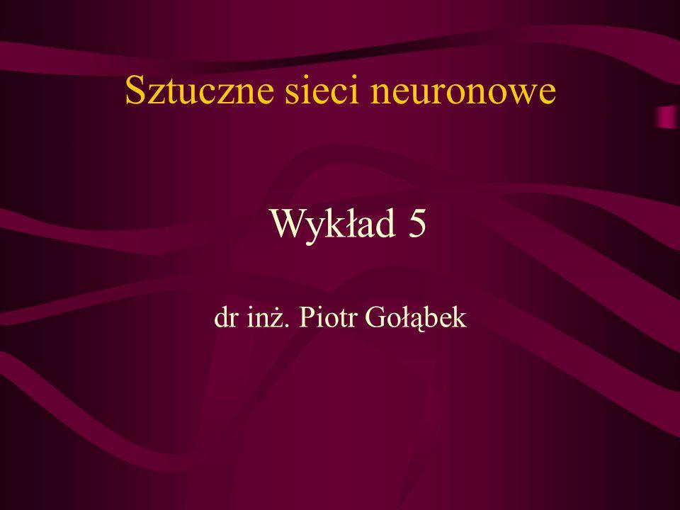 Sztuczne sieci neuronowe dr inż. Piotr Gołąbek Wykład 5