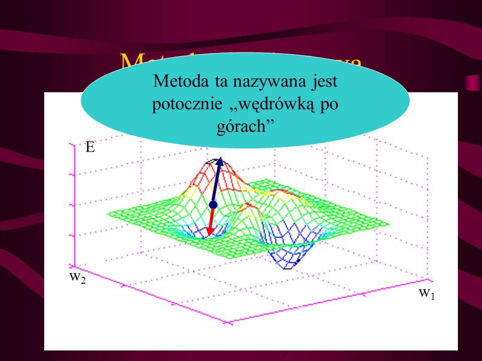 Metoda gradientowa w1w1 w2w2 E Metoda ta nazywana jest potocznie wędrówką po górach