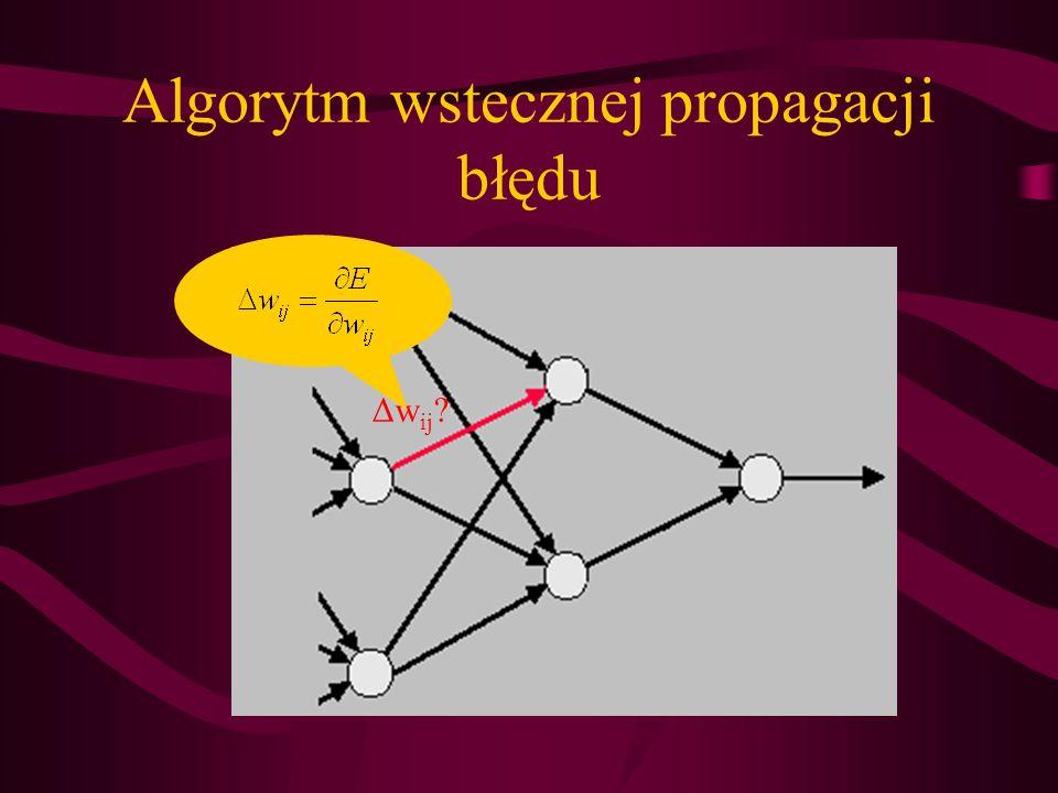 Δw ij ? Algorytm wstecznej propagacji błędu