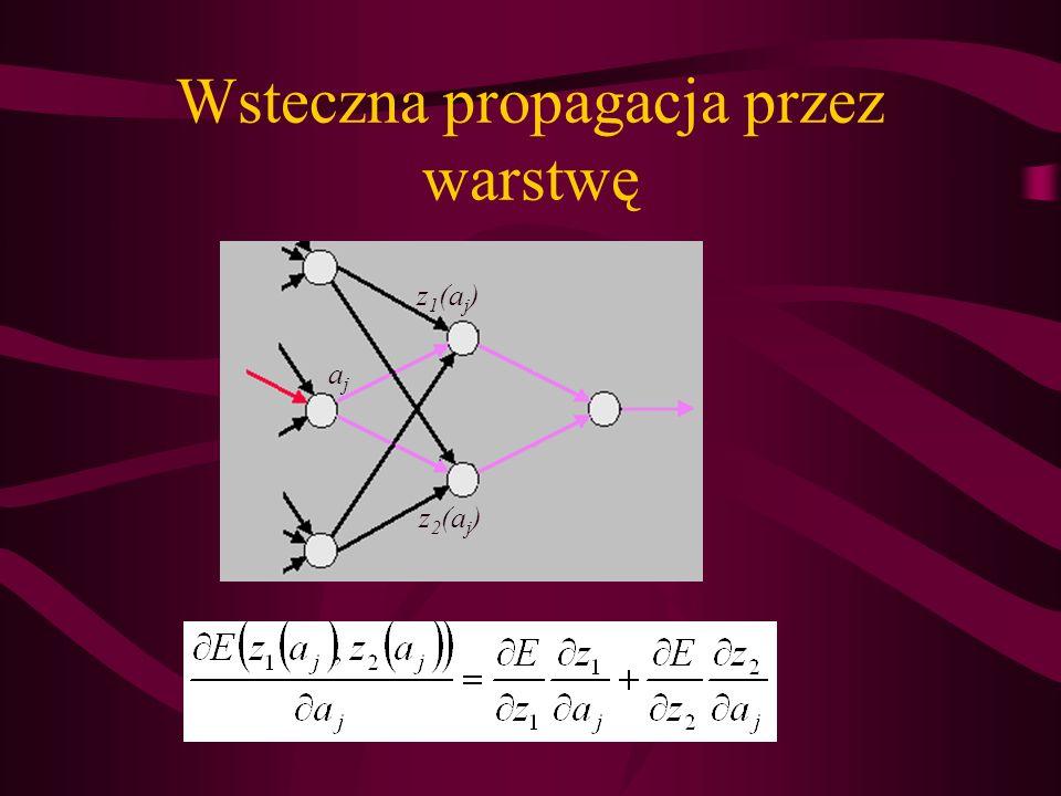 Wsteczna propagacja przez warstwę z 1 (a j ) z 2 (a j ) ajaj