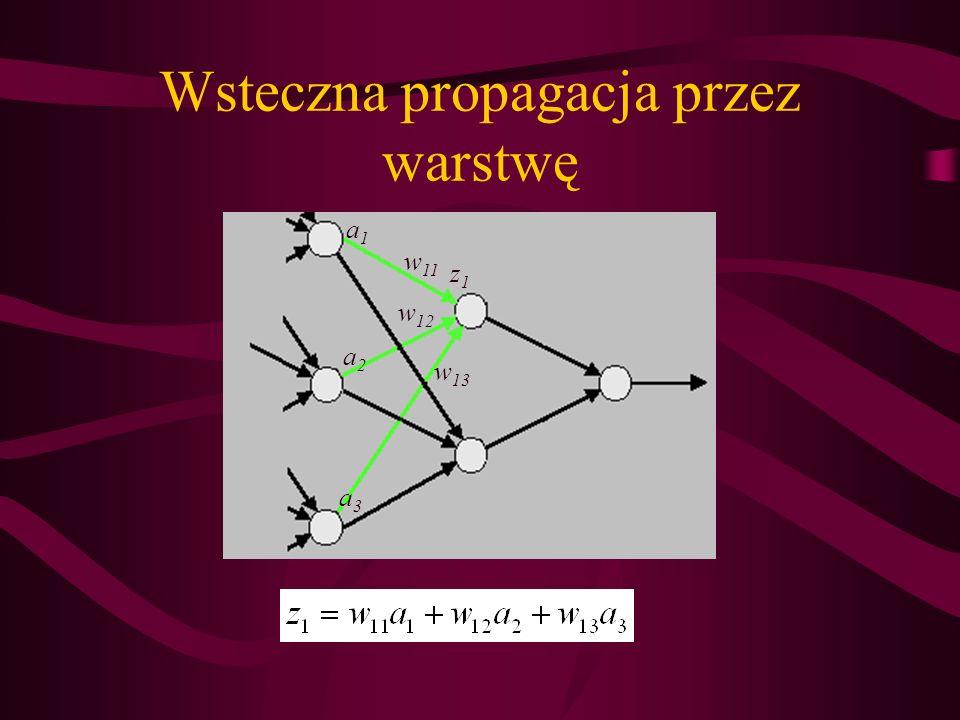 Wsteczna propagacja przez warstwę z1z1 a1a1 a2a2 a3a3 w 11 w 12 w 13