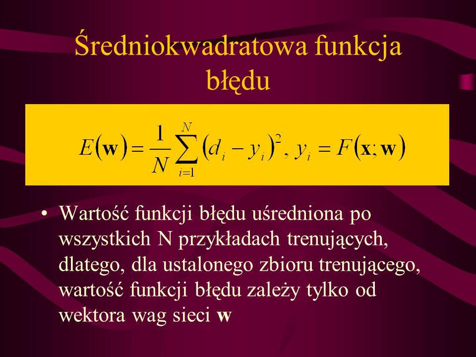 Średniokwadratowa funkcja błędu Wartość funkcji błędu uśredniona po wszystkich N przykładach trenujących, dlatego, dla ustalonego zbioru trenującego,
