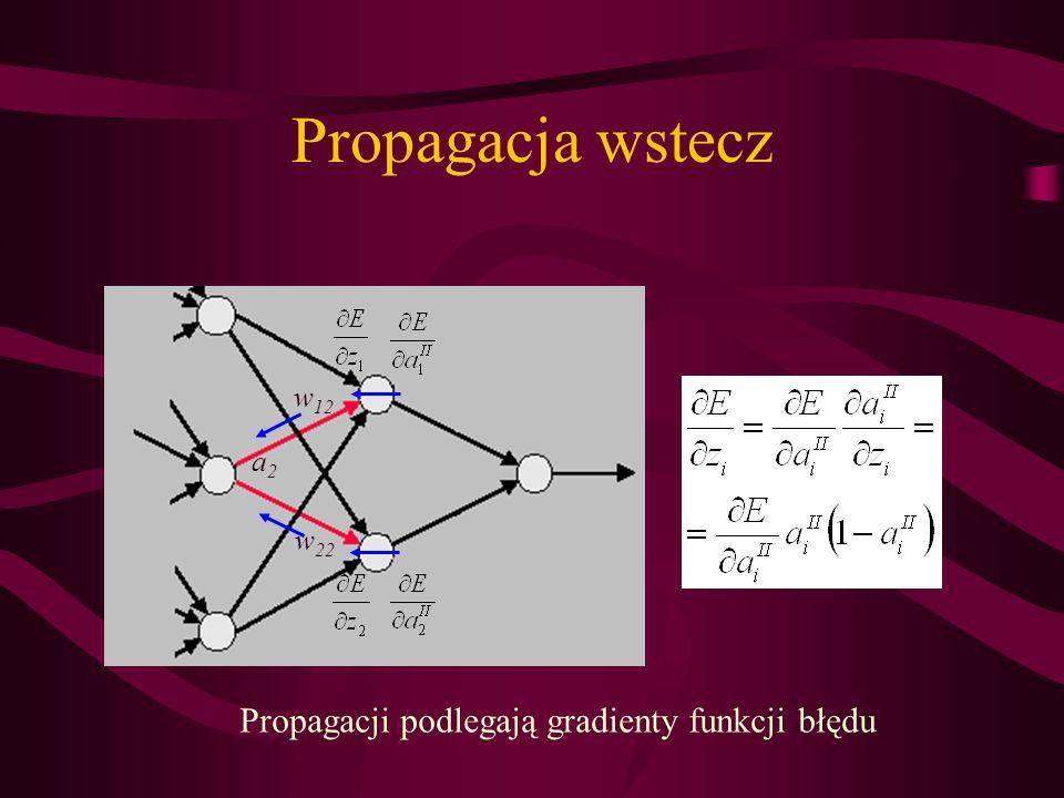 Propagacja wstecz a2a2 w 12 w 22 Propagacji podlegają gradienty funkcji błędu