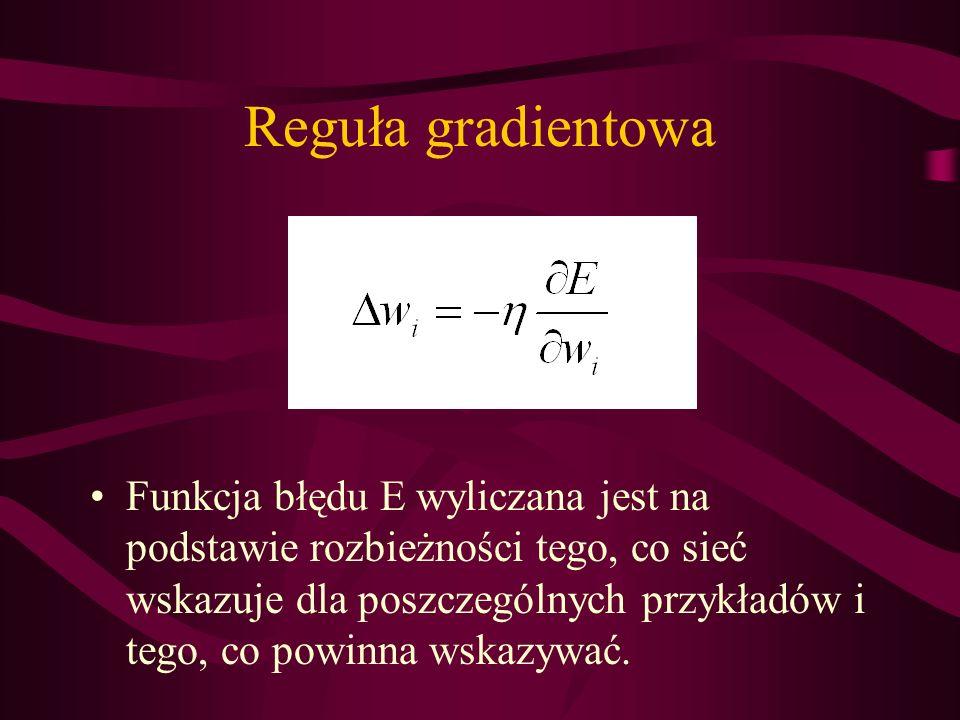 Reguła gradientowa Funkcja błędu E wyliczana jest na podstawie rozbieżności tego, co sieć wskazuje dla poszczególnych przykładów i tego, co powinna ws