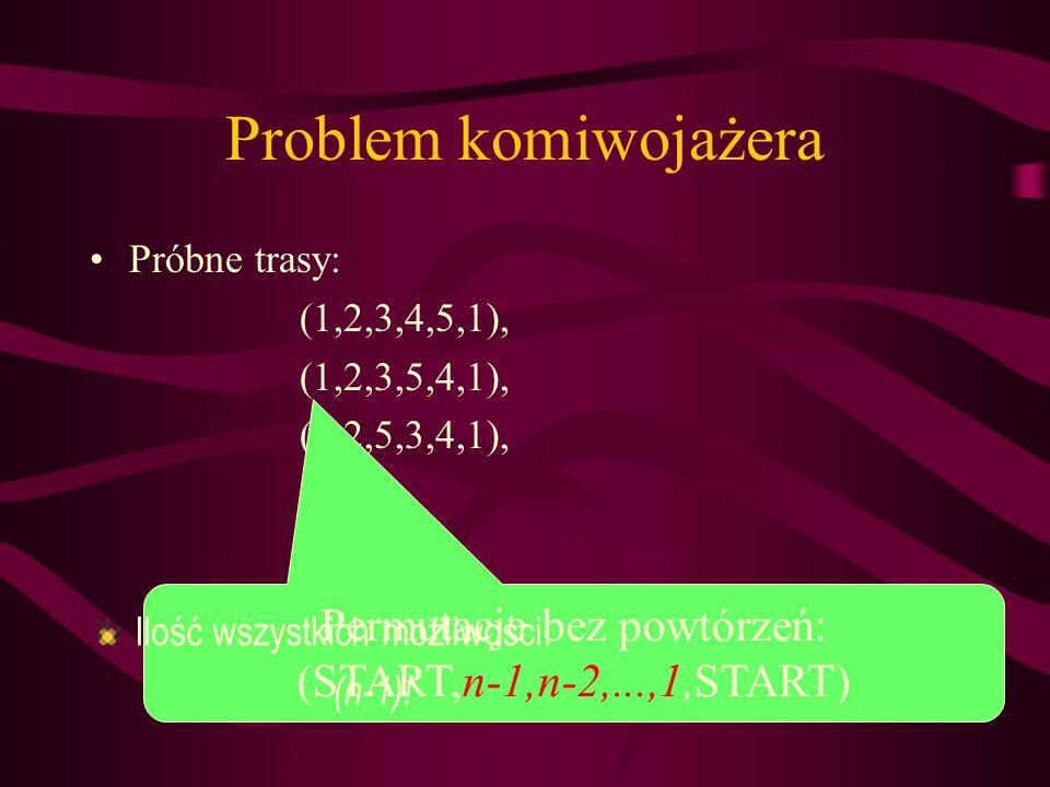Problem komiwojażera Próbne trasy: (1,2,3,4,5,1), (1,2,3,5,4,1), (1,2,5,3,4,1),... Permutacje bez powtórzeń: (START,n-1,n-2,...,1,START) Ilość wszystk