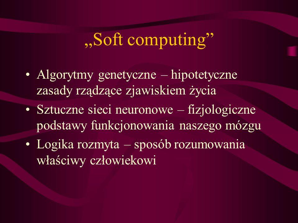Soft computing Algorytmy genetyczne – hipotetyczne zasady rządzące zjawiskiem życia Sztuczne sieci neuronowe – fizjologiczne podstawy funkcjonowania n