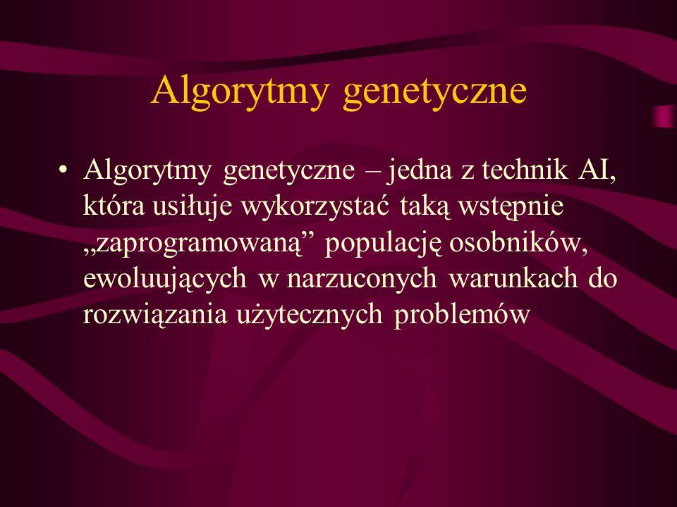 Algorytmy genetyczne Algorytmy genetyczne – jedna z technik AI, która usiłuje wykorzystać taką wstępnie zaprogramowaną populację osobników, ewoluujący
