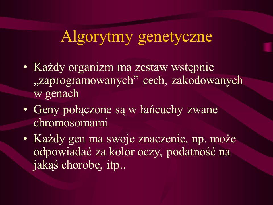 Algorytmy genetyczne Każdy organizm ma zestaw wstępnie zaprogramowanych cech, zakodowanych w genach Geny połączone są w łańcuchy zwane chromosomami Ka