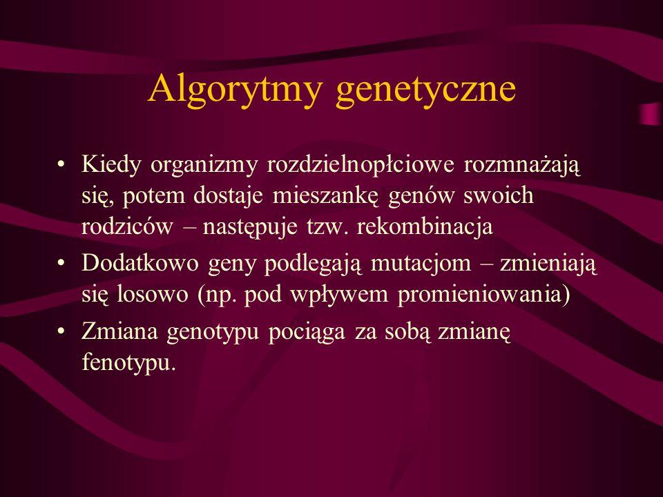 Algorytmy genetyczne Kiedy organizmy rozdzielnopłciowe rozmnażają się, potem dostaje mieszankę genów swoich rodziców – następuje tzw. rekombinacja Dod