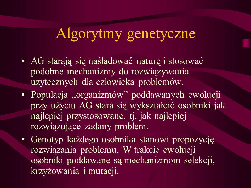 Algorytmy genetyczne AG starają się naśladować naturę i stosować podobne mechanizmy do rozwiązywania użytecznych dla człowieka problemów. Populacja or