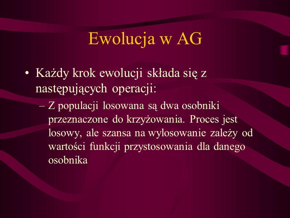 Ewolucja w AG Każdy krok ewolucji składa się z następujących operacji: –Z populacji losowana są dwa osobniki przeznaczone do krzyżowania. Proces jest