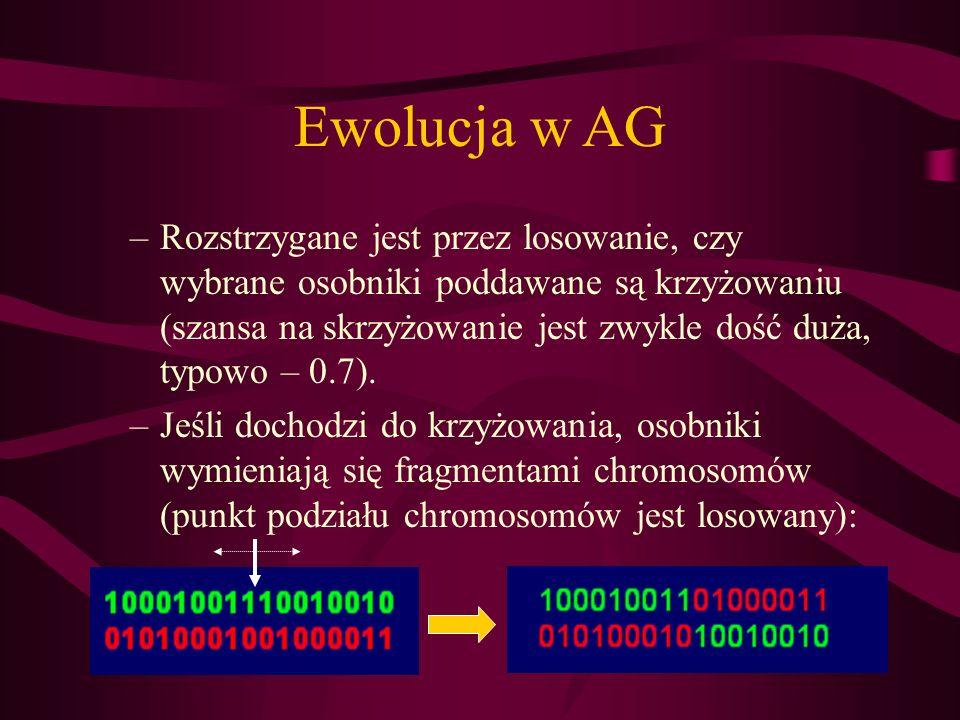 Ewolucja wAG –Rozstrzygane jest przez losowanie, czy wybrane osobniki poddawane są krzyżowaniu (szansa na skrzyżowanie jest zwykle dość duża, typowo –