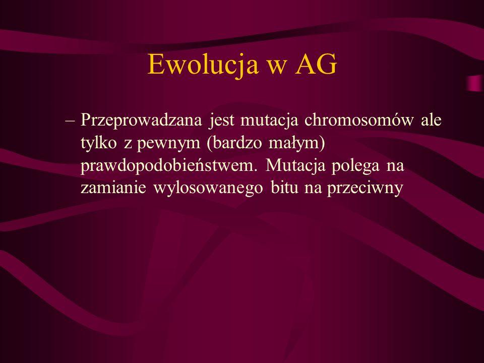 Ewolucja w AG –Przeprowadzana jest mutacja chromosomów ale tylko z pewnym (bardzo małym) prawdopodobieństwem. Mutacja polega na zamianie wylosowanego