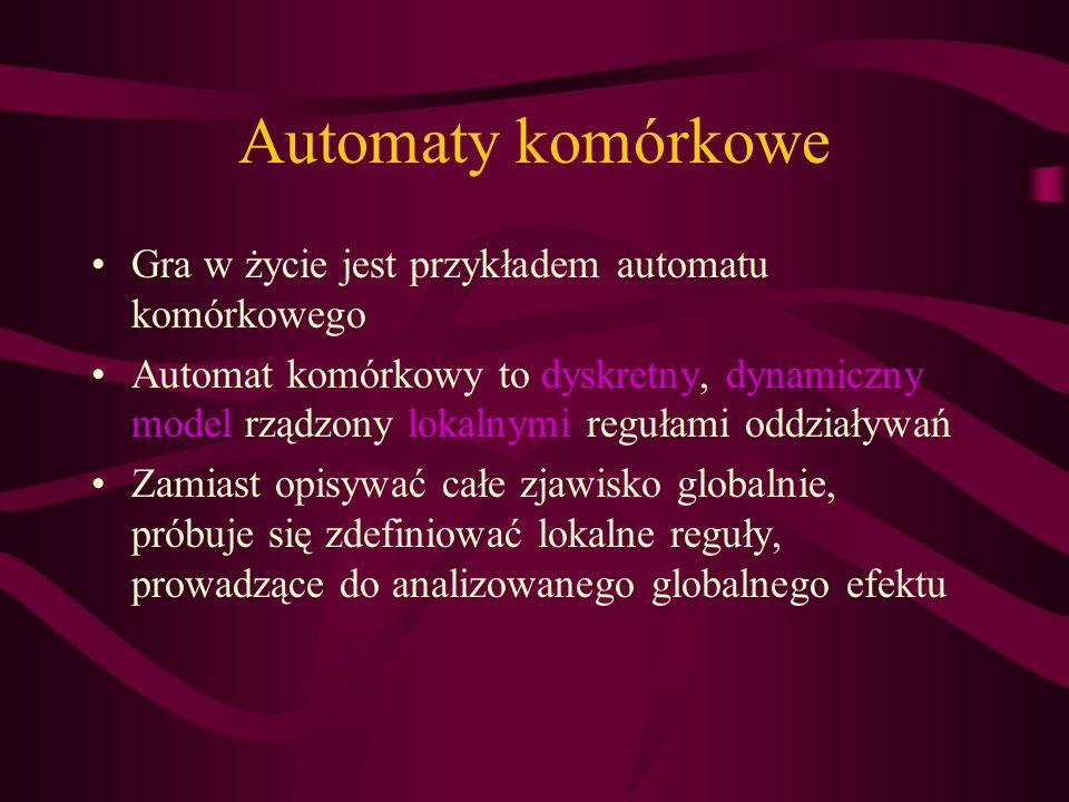 Automaty komórkowe Gra w życie jest przykładem automatu komórkowego Automat komórkowy to dyskretny, dynamiczny model rządzony lokalnymi regułami oddzi