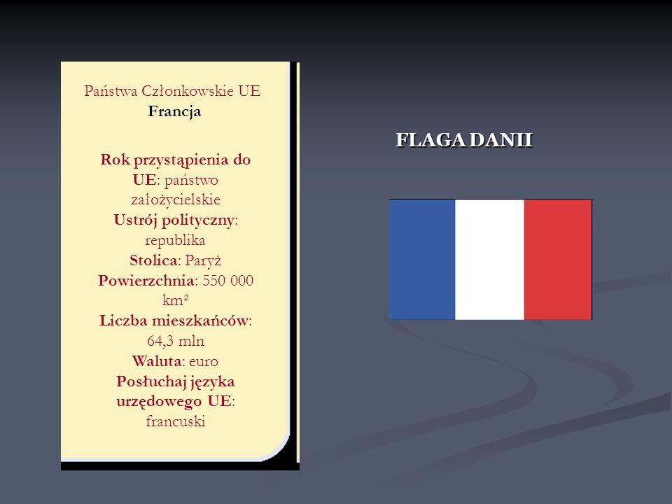 FLAGA DANII Państwa Członkowskie UE Francja Rok przystąpienia do UE: państwo założycielskie Ustrój polityczny: republika Stolica: Paryż Powierzchnia:
