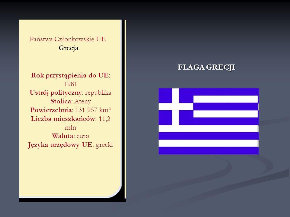 Państwa Członkowskie UE Grecja Rok przystąpienia do UE: 1981 Ustrój polityczny: republika Stolica: Ateny Powierzchnia: 131 957 km² Liczba mieszkańców:
