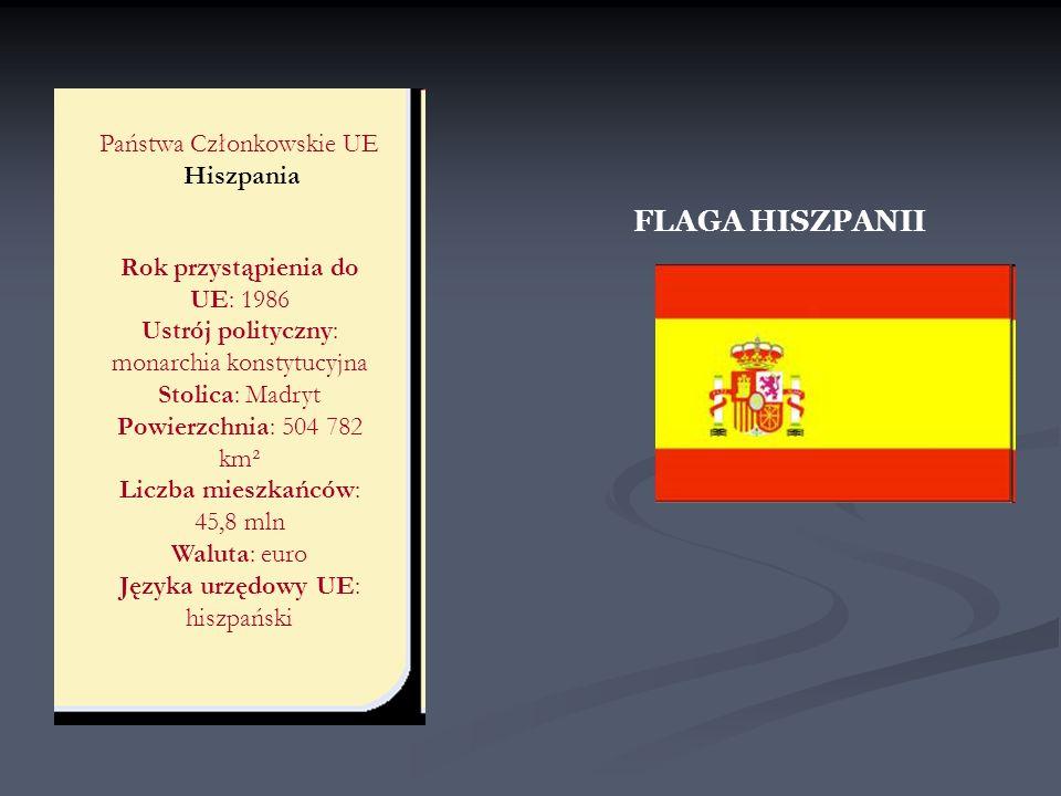 Państwa Członkowskie UE Hiszpania Rok przystąpienia do UE: 1986 Ustrój polityczny: monarchia konstytucyjna Stolica: Madryt Powierzchnia: 504 782 km² L
