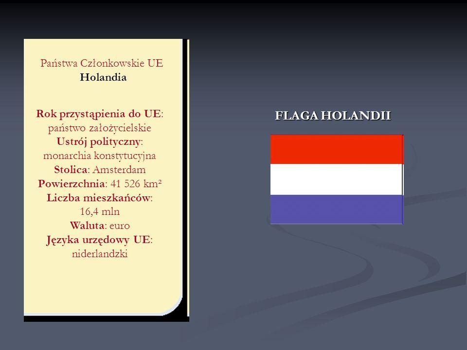 Państwa Członkowskie UE Holandia Rok przystąpienia do UE: państwo założycielskie Ustrój polityczny: monarchia konstytucyjna Stolica: Amsterdam Powierz
