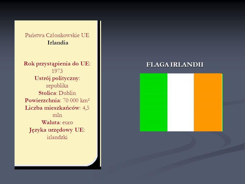 Państwa Członkowskie UE Irlandia Rok przystąpienia do UE: 1973 Ustrój polityczny: republika Stolica: Dublin Powierzchnia: 70 000 km² Liczba mieszkańcó