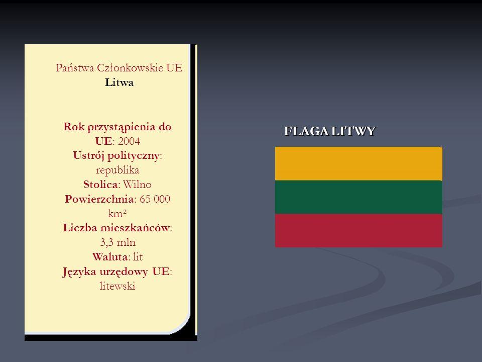 Państwa Członkowskie UE Litwa Rok przystąpienia do UE: 2004 Ustrój polityczny: republika Stolica: Wilno Powierzchnia: 65 000 km² Liczba mieszkańców: 3