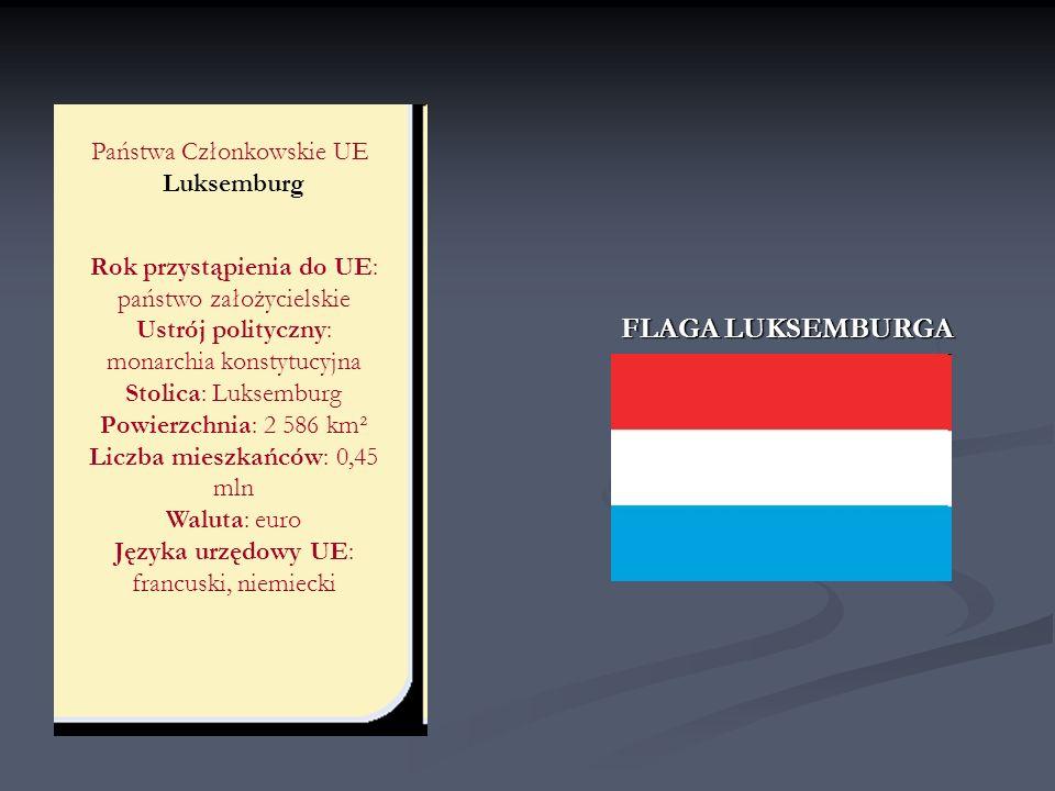 Państwa Członkowskie UE Luksemburg Rok przystąpienia do UE: państwo założycielskie Ustrój polityczny: monarchia konstytucyjna Stolica: Luksemburg Powi