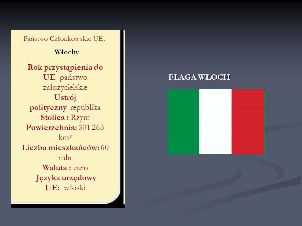 Państwo Członkowskie UE: Włochy FLAGA WŁOCH Rok przystąpienia do UE państwo założycielskie Ustrój polityczny republika Stolica : Rzym Powierzchnia: 30
