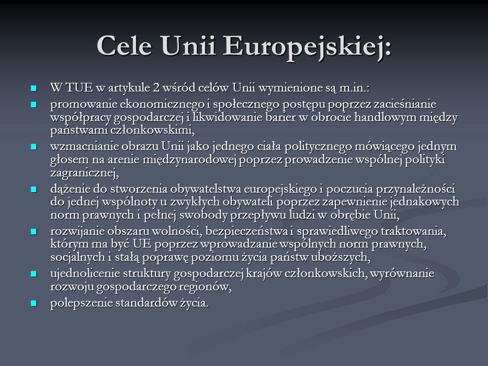 Cele Unii Europejskiej: W TUE w artykule 2 wśród celów Unii wymienione są m.in.: W TUE w artykule 2 wśród celów Unii wymienione są m.in.: promowanie e