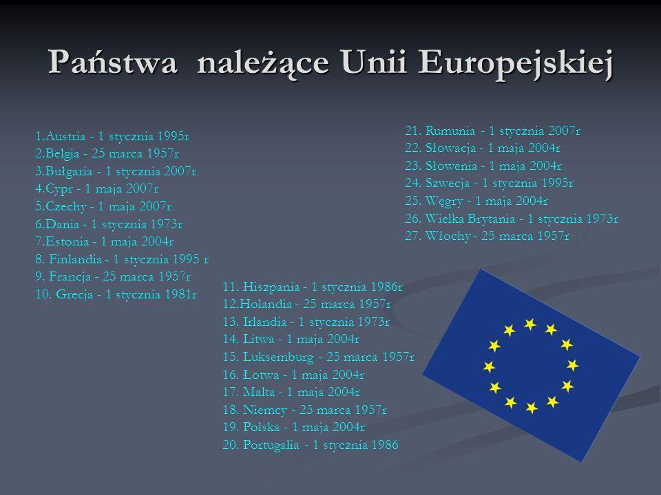 Państwa należące Unii Europejskiej 1.Austria - 1 stycznia 1995r 2.Belgia - 25 marca 1957r 3.Bułgaria - 1 stycznia 2007r 4.Cypr - 1 maja 2007r 5.Czechy