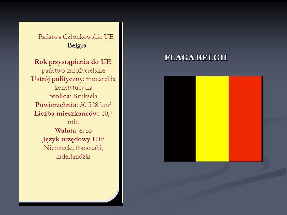 Państwa Członkowskie UE Belgia Rok przystąpienia do UE: państwo założycielskie Ustrój polityczny: monarchia konstytucyjna Stolica: Bruksela Powierzchn