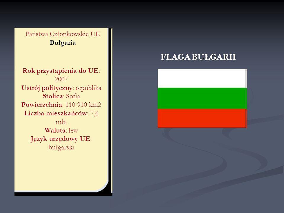 Państwa Członkowskie UE Bułgaria Rok przystąpienia do UE: 2007 Ustrój polityczny: republika Stolica: Sofia Powierzchnia: 110 910 km2 Liczba mieszkańcó