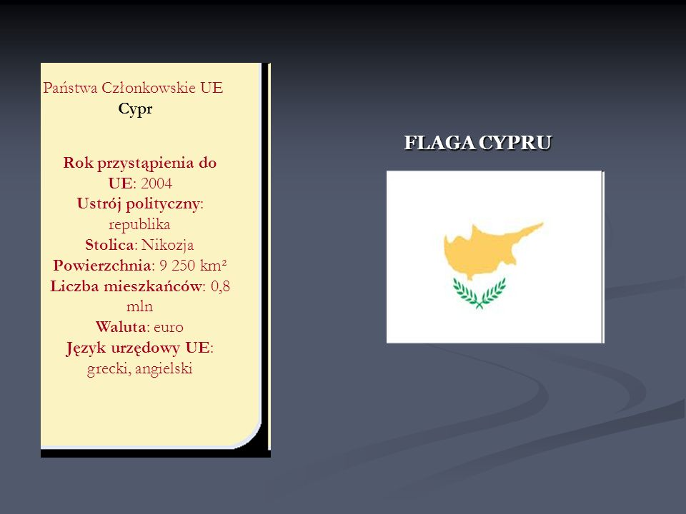 Państwa Członkowskie UE Cypr FLAGA CYPRU Rok przystąpienia do UE: 2004 Ustrój polityczny: republika Stolica: Nikozja Powierzchnia: 9 250 km² Liczba mi