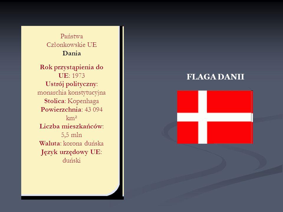 FLAGA DANII Państwa Członkowskie UE Dania Rok przystąpienia do UE: 1973 Ustrój polityczny: monarchia konstytucyjna Stolica: Kopenhaga Powierzchnia: 43