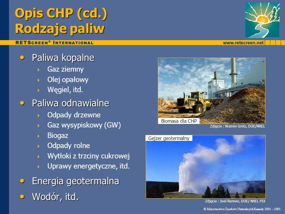 © Ministerstwo Zasobów Naturalnych Kanady 2001 – 2005. RETScreen ® CHP System ciepłowniczy