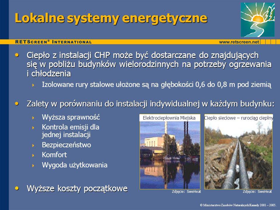 © Ministerstwo Zasobów Naturalnych Kanady 2001 – 2005. RETScreen ® CHP System elektroenergetyczny