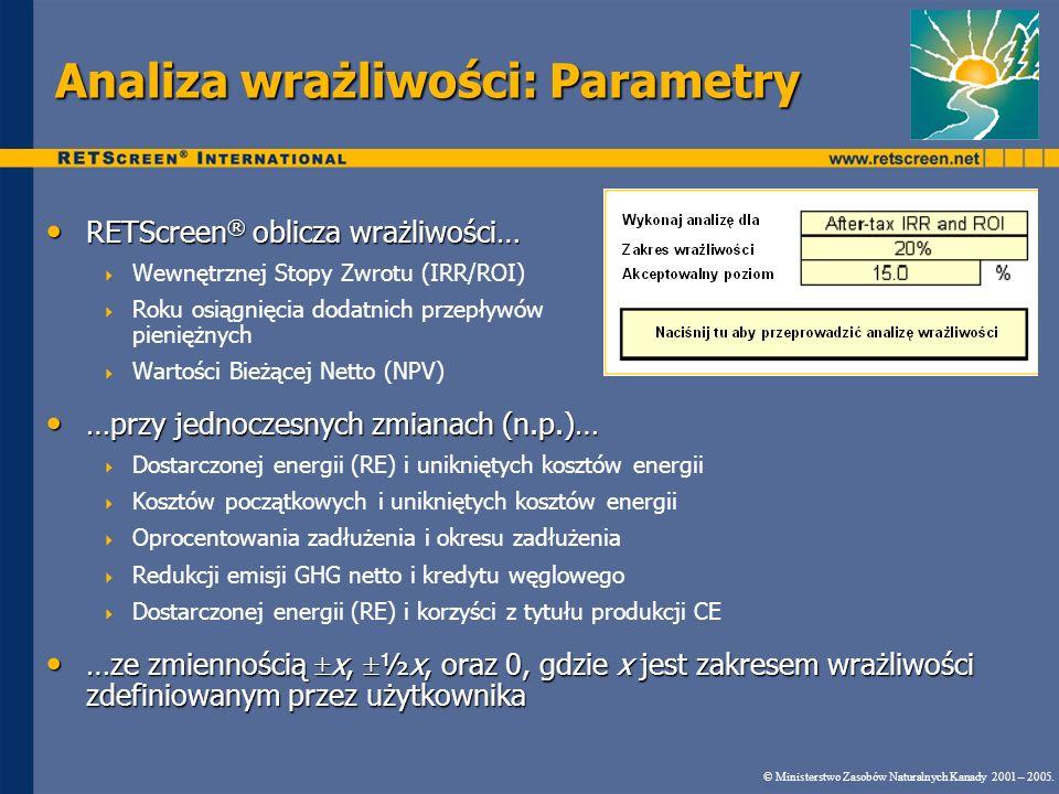 Analiza wrażliwości: Parametry RETScreen ® oblicza wrażliwości… RETScreen ® oblicza wrażliwości… Wewnętrznej Stopy Zwrotu (IRR/ROI) Roku osiągnięcia d